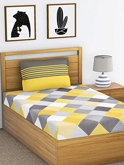 1c010b837d3 Ahmedabad Cotton 144 TC Cotton Single Bedsheet with 1 Pillow Cover - Yellow  and Grey  Amazon.in  Home   Kitchen