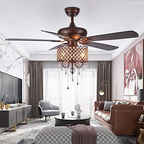Crystal Chandelier Ceiling Fan With Light And Remote 5 Wood Reversible Blades Quiet For Home Decoration Living Room Bedroom 52 Inch Bronze