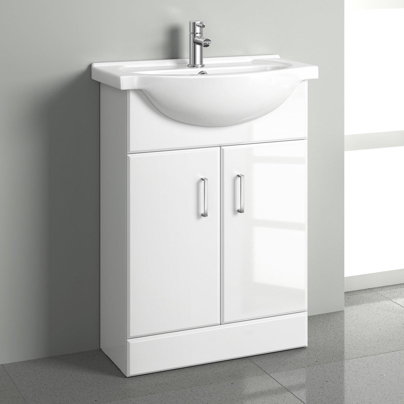 550mm White Gloss Basin Vanity Cabinet Bathroom Storage Furniture Sink Unit iBathUK