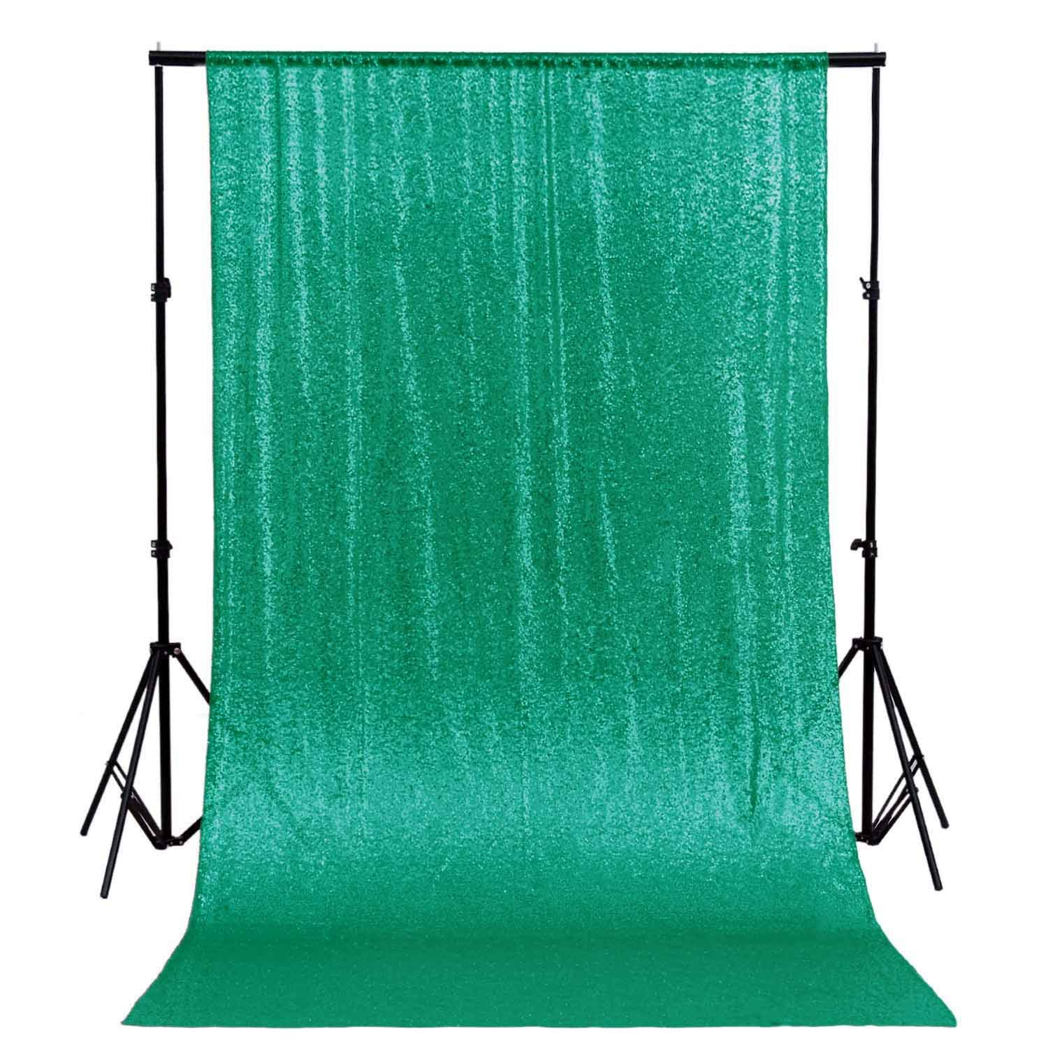 DUOBAO Sequin Backdrop Curtain 4FTx6FT Green Glitter Background Green Sequin Photo Backdrop Prom Party Decor~0613 by DUOBAO