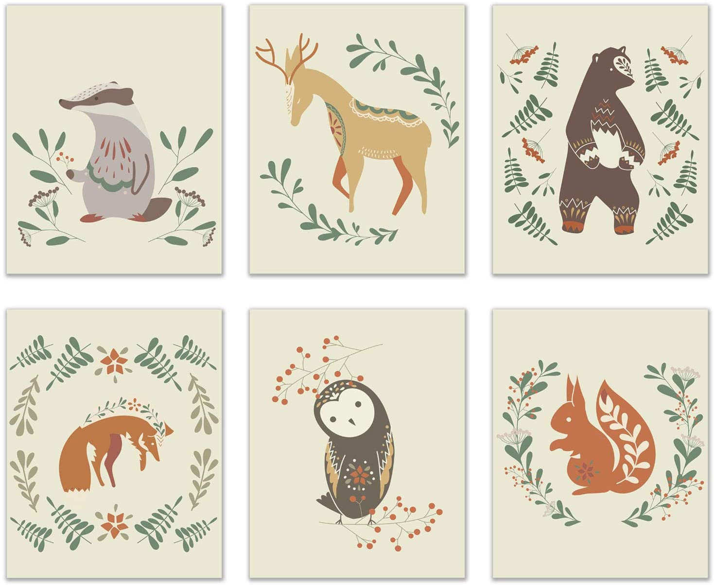 Nordic Woodland Animals Prints - Set of 6 (8x10 Inches) Glossy Modern Scandinavian Nature Nursery Wall Art Decor - Brown Bear - Deer - Badger - Owl - Fox - Squirrel