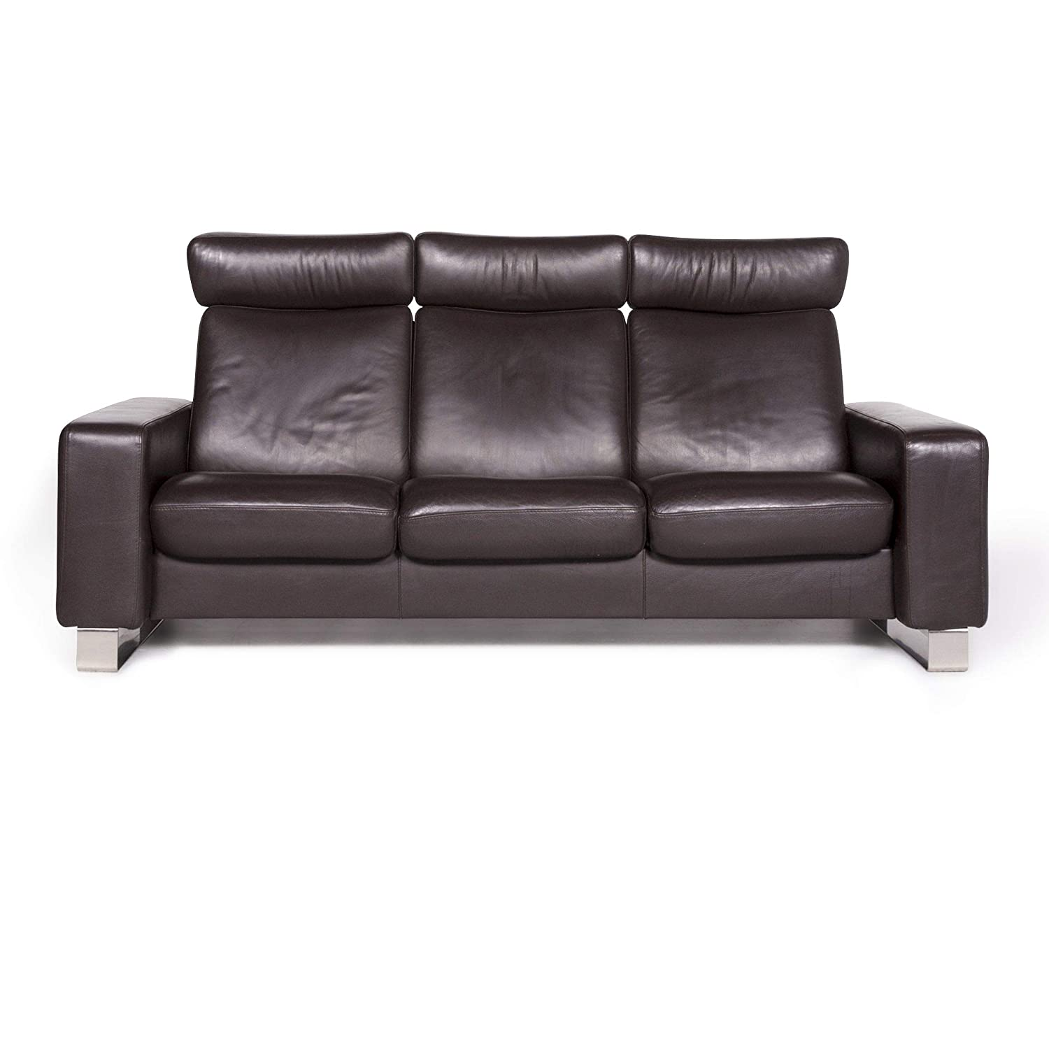 Stressless Designer Leather Sofa Brown Three-Seater Couch ...