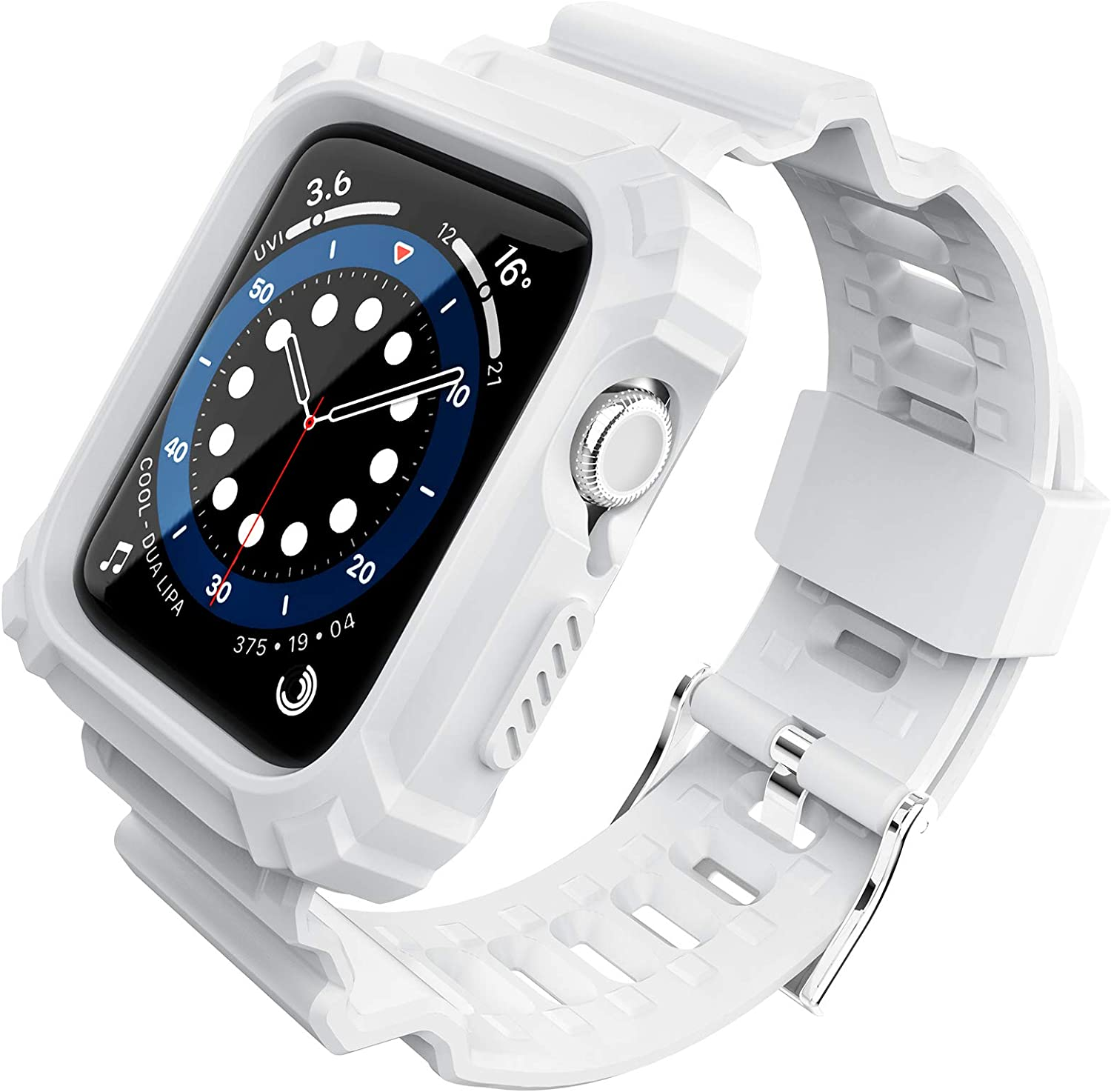FITO Compatible with Apple Watch Bands 38mm 40mm Series with Case, Rugged Shock Resistant Case with TPU Sport Strap Bands Applicable to iWatch Series 6/5/4/3/2/1/SE - White
