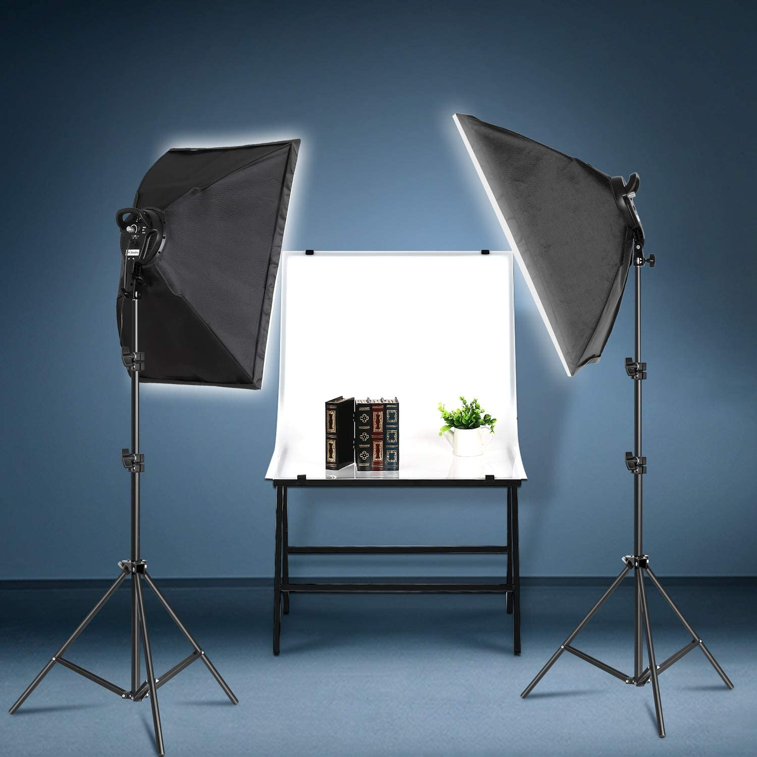 SH 2Set 20X28 Softbox Photography Lighting Kit 135W Continuous Lighting System Photo Studio Equipment Photo Model Portraits Shooting Box E27 Video Lighting Bulb