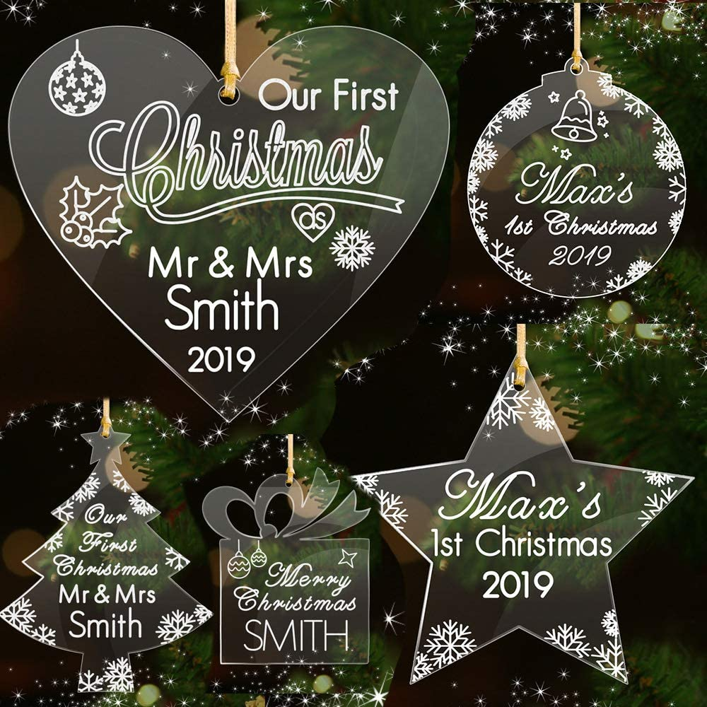 Howson London Personalised Family Christmas Tree Bauble Decoration Ornament For Couples Or Families Hand Finished in UK Engraved Gift Bauble Heart Round Tree Star Shape