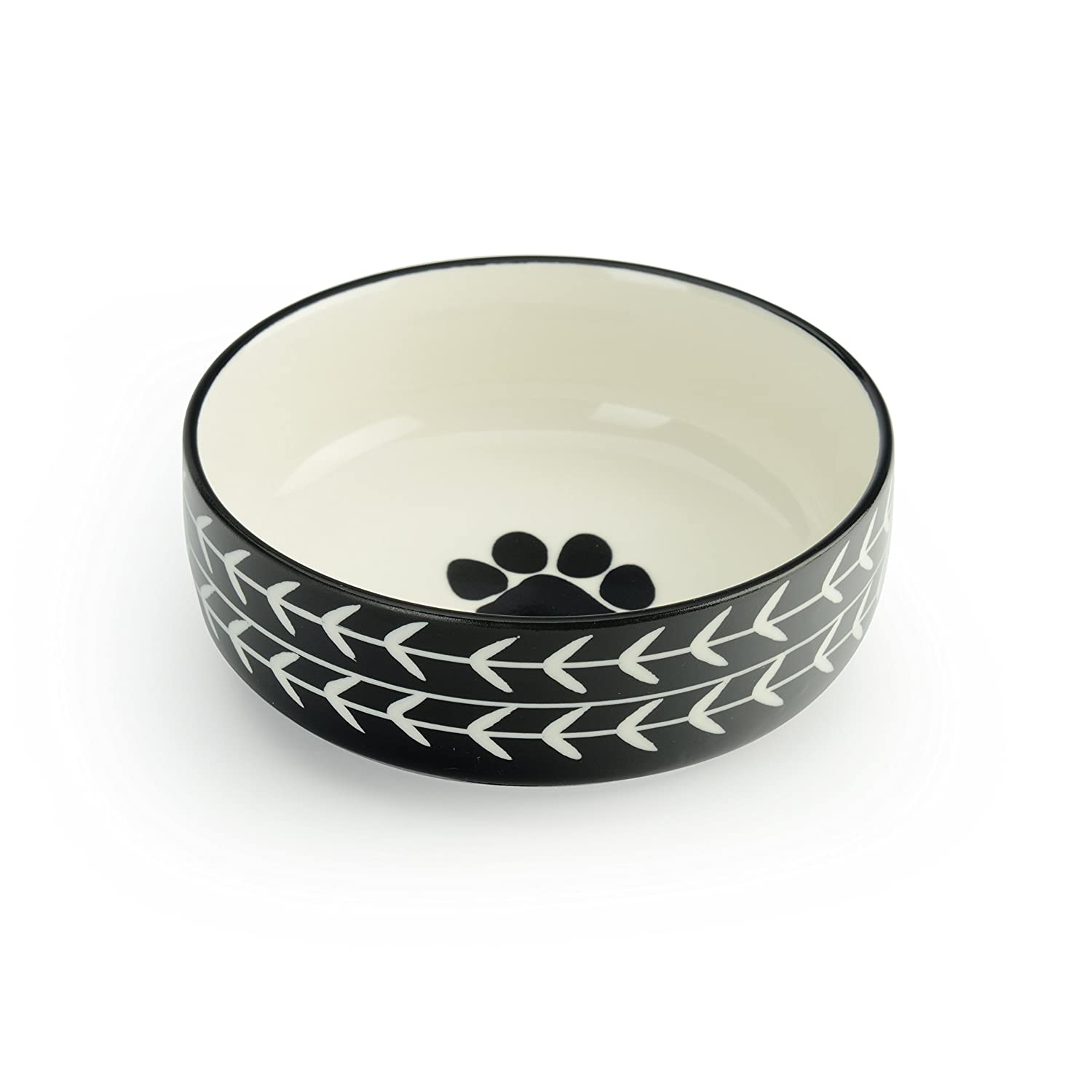 Extra Small Signature Housewares Glazed Stoneware Pet Bowls (Black Arrow, Extra Small)