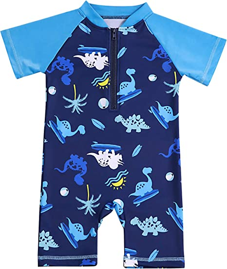 Little Baby Boy Summer Two Piece Swimsuit Set Kid Sun Protection Short Sleeve Bathing Suit