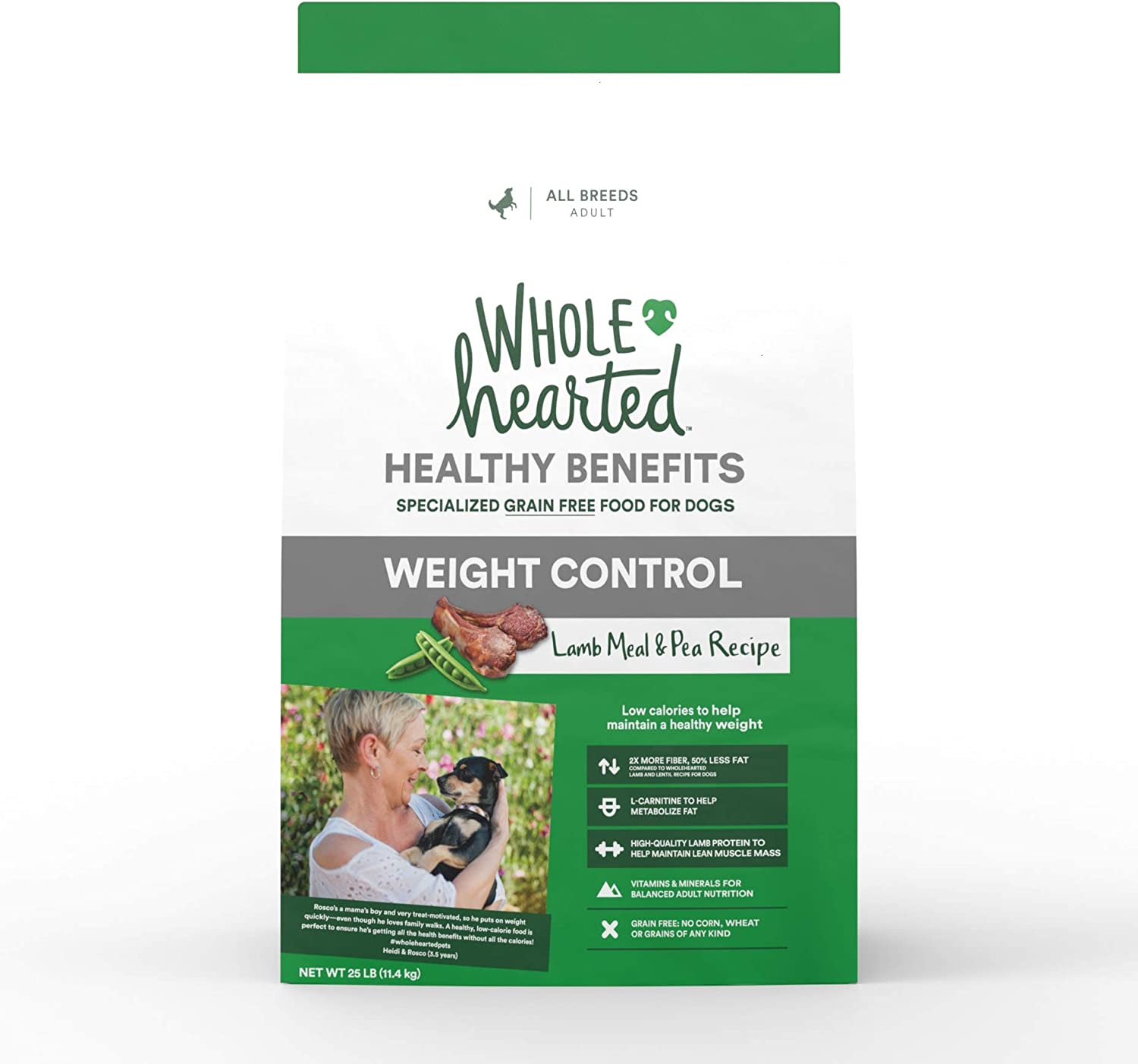 WholeHearted Healthy Benefits Weight Control Lamb and Pea Recipe Dry Dog Food, 25 lbs.