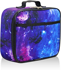 Galaxy Lunch Box for Boys, Girls by Fenrici, Kids Insulated Lunch Bag, Perfect for Preschool, K-6, Soft Sided Compartments, Spacious, BPA Free, Food Safe,10.8in x 9.2in x 3.8in (Galaxy-Purple)