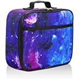 Galaxy Lunch Box for Girls, Boys, Kids by Fenrici - Soft Sided Compartments, Spacious, Insulated, Food Safe, 10in x 7.5in x 3in, Purple, A Gift That Gives Back