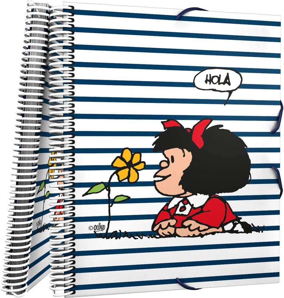 Grafoplás 39822413 - Carpeta de 30 Fundas Transparentes, Mecanismo Espiral, Modelo Mafalda Marinera, Cubiertas Polipropileno, A4: Amazon.es: Oficina y papelería