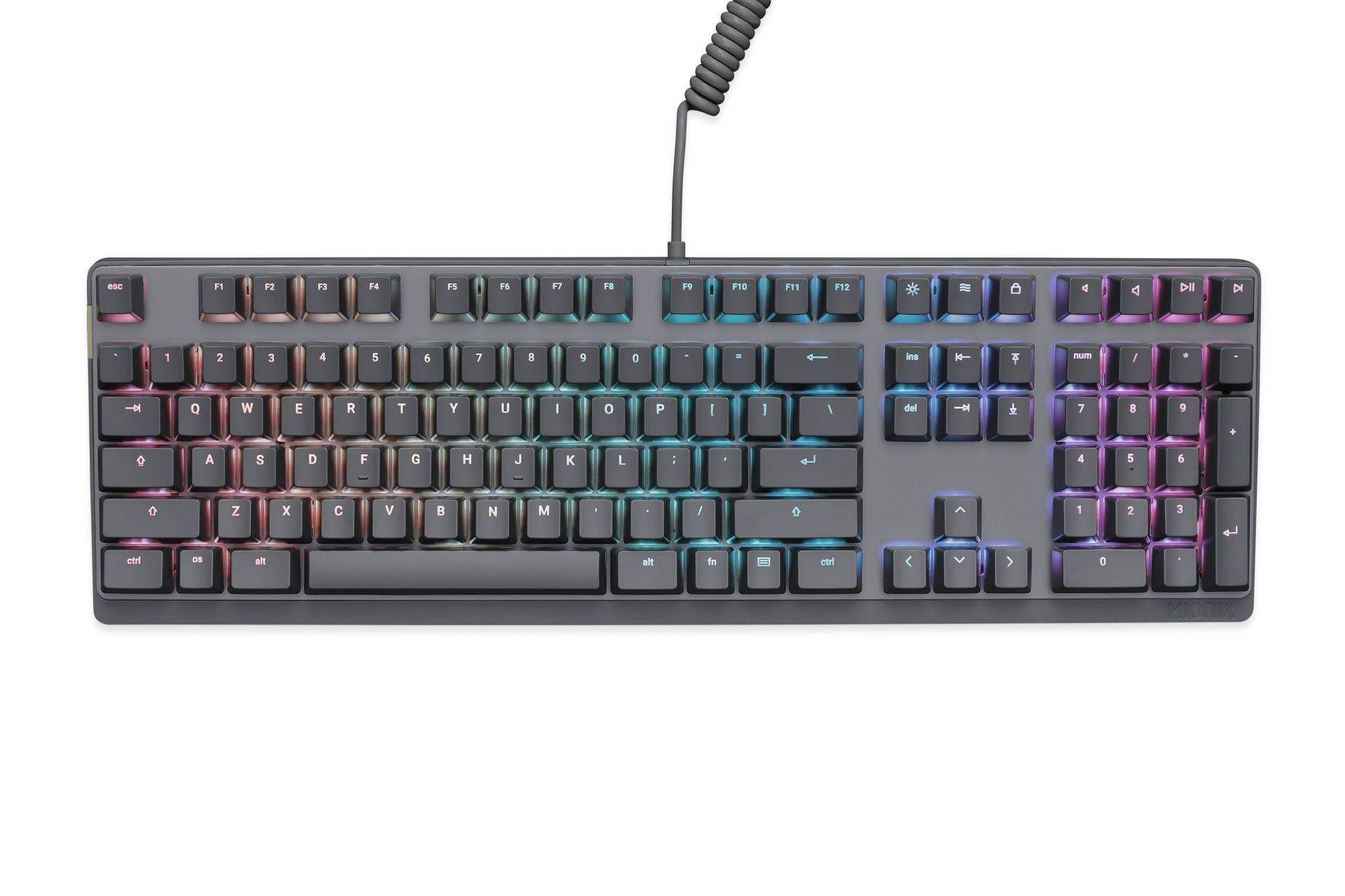 Mionix Wei PC and Mac RGB Mechanical Keyboard Silent - Great For eSports Made For Gamers And Artists - Quite Cherry MX Red Switches - Durable USB Metal Keyboard Black / Grey