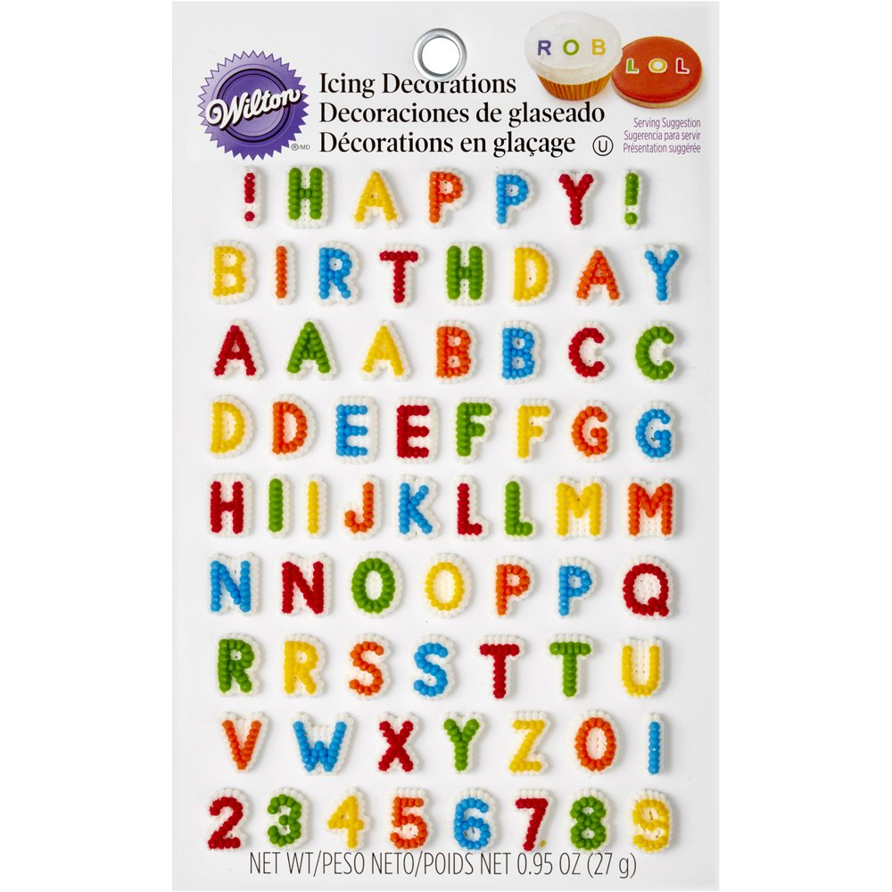 Wilton 710-6042 Letters & Numbers Edible Icing Decorations