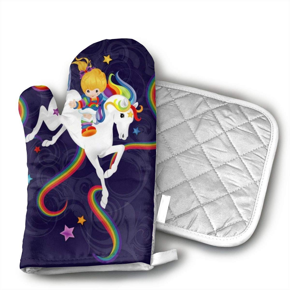 HAIQLK Rainbow Brite and Starlite Memories Oven Mitts with Quilted Cotton Lining - Professional Heat Resistant Potholder Kitchen Gloves