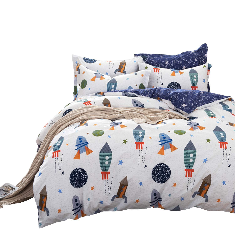Brandream Boys Galaxy Space Bedding Set Twin Size Kids Bedding Set 100% Cotton (Duvet Cover + Flat Sheet + Pillowcase) by Brandream