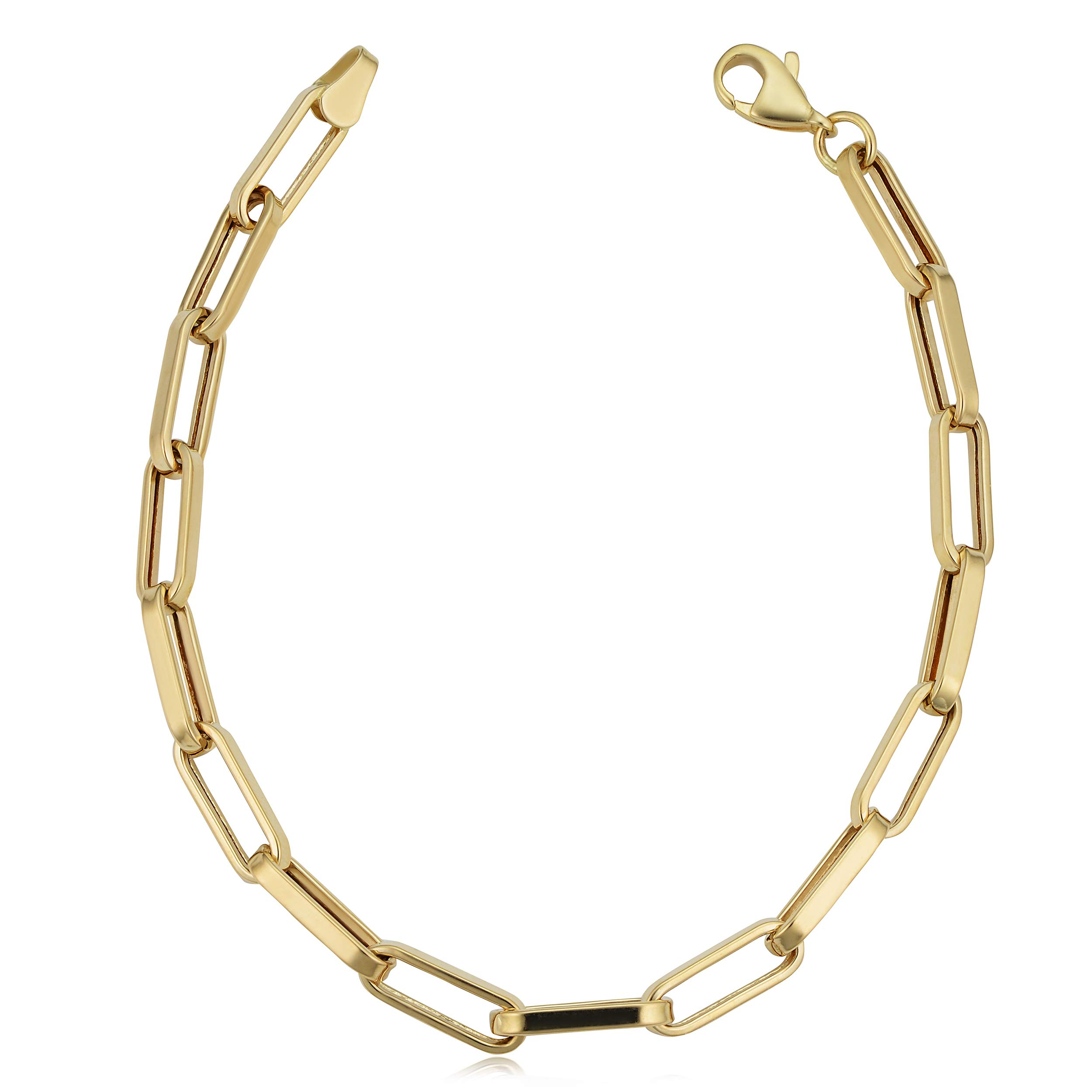 Kooljewelry 14k Yellow Gold Capsule Paperclip Chain Bracelet (4.4 mm, 7.5 inch) by Kooljewelry