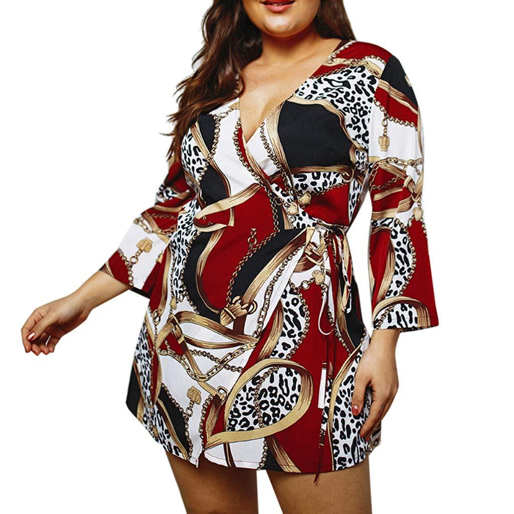 Zegeey Damen Kleid Langarm V-Ausschnitt Bohemien Drucken ÜBergrößE MiniKleid Sommerkleider Strandkleider Blumenkleid Freizeit