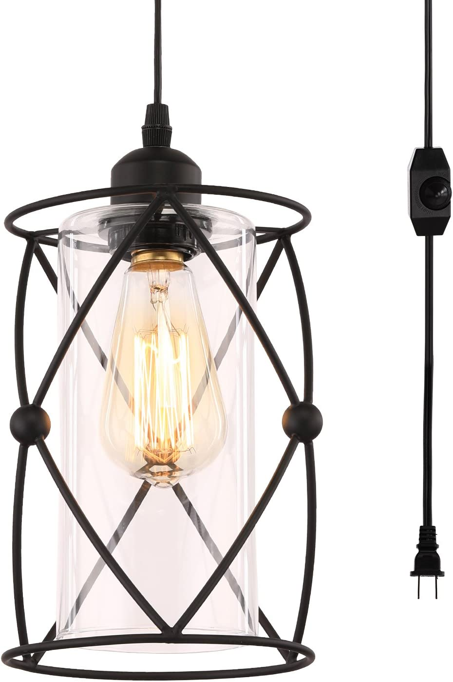 Creatgeek Plug-In Modern Industrial Glass Pendant Light with 16.4 Ft Cord and In-Line On Off Dimmer Switch,Black Finish Cylinder Style
