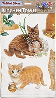 product image for Fiddler's Elbow Orange Kittens Dish Towel, Kitchen Towel with Hanging Loop, 100% Cotton Eco-Friendly Kitchen Towel