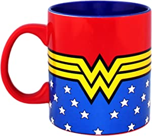 Silver Buffalo DC Comics Wonder Woman Logo Wrap Around with Stars Jumbo Ceramic Mug, 20-ounces, Multicolor