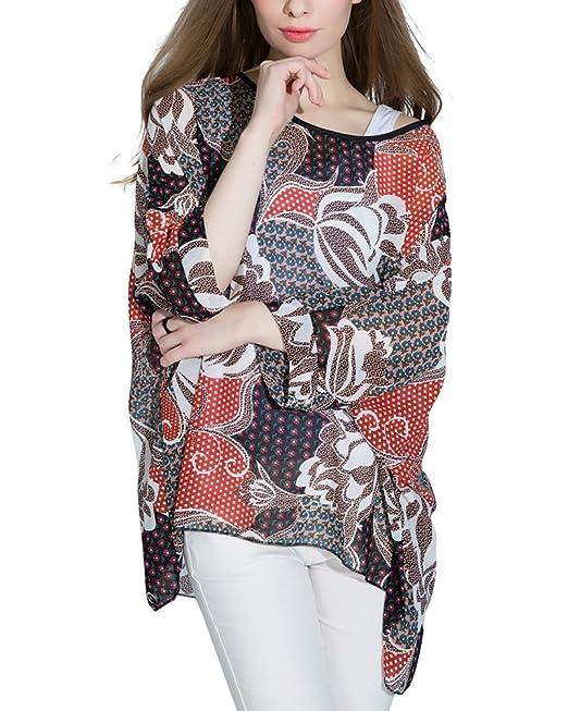 Mujeres Blusa Suelta de Talla Grande Camiseta con Mangas Largas de Murciélago Como la Imagen L