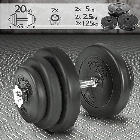 Physionics Juego de Mancuerna de Fitness y Pesas 20 kg Pesas Musculación Discos y Barra: Amazon.es: Deportes y aire libre