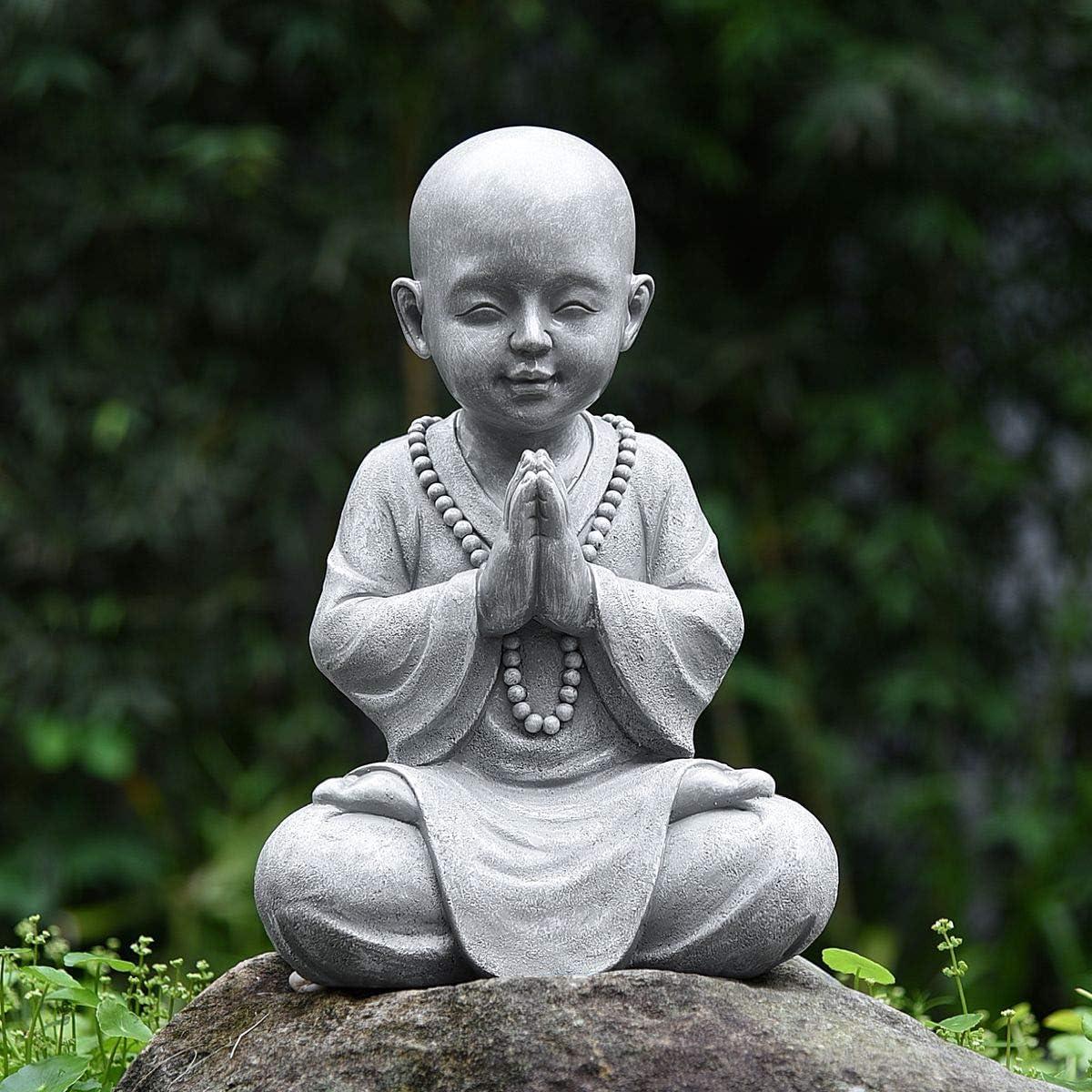 Amazon Com Meditating Baby Monk Buddha Statue Figurine Zen Garden Monk Sculpture Decor For Home Garden Patio Deck Porch Yard Art Decoration With Natural Wood Beaded Necklace 11 2 Inch Grey Kitchen Dining