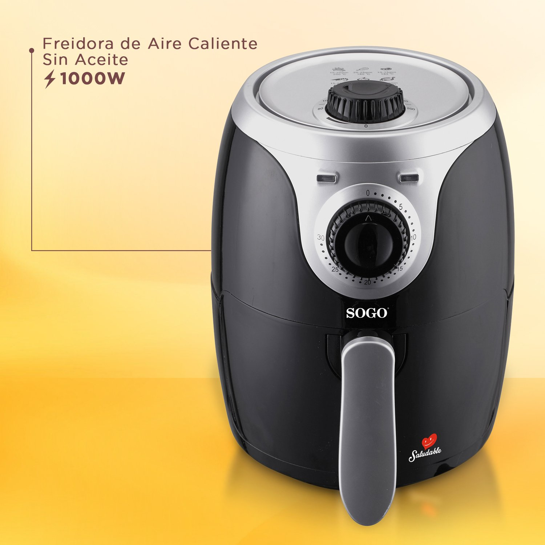 SOGO Air Fry - Freidora de Aire Caliente sin Aceite, Capacidad 2L, 1000W con Control de Temperatura y Temporizador, sin Sobrecalentamientos, Color: Negro: ...