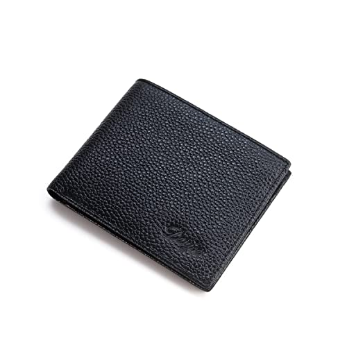 premium selection 9760d a5dda 【DANJUE】本物 正規品 天然皮革 財布 メンズ 二つ折り 薄い カード収納 小銭入れなし 横型 本革 牛革 黒 ブラック 安く通販 メンズサイズ  D6009-3y (黒)