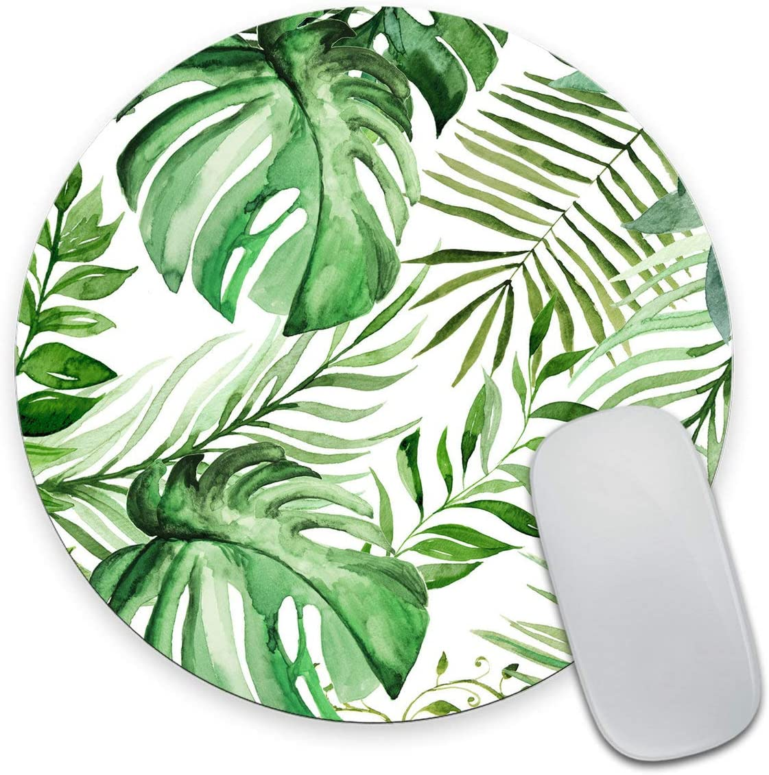 Smooffly Wild Leaf Mouse pad, Round Mousepad, Leaves Mouse pad, Office Supplies, Gift for Friend, Desk Accessories