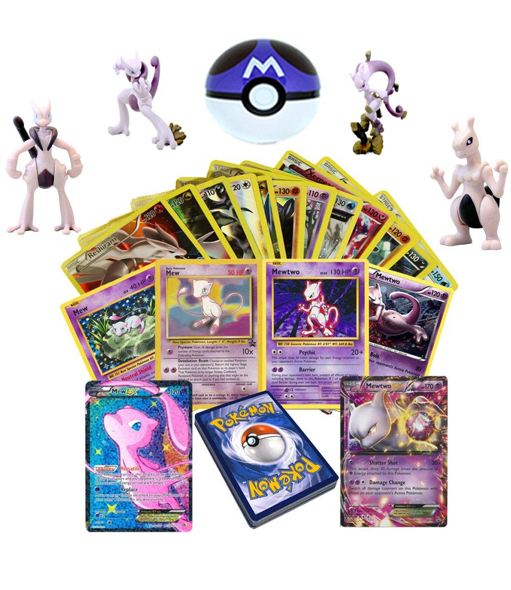 30 Pokemon Cards Mew or Mewtwo EX Holo Foil Guaranteed - Free Mew Figure, Master Ball and Random Bonus