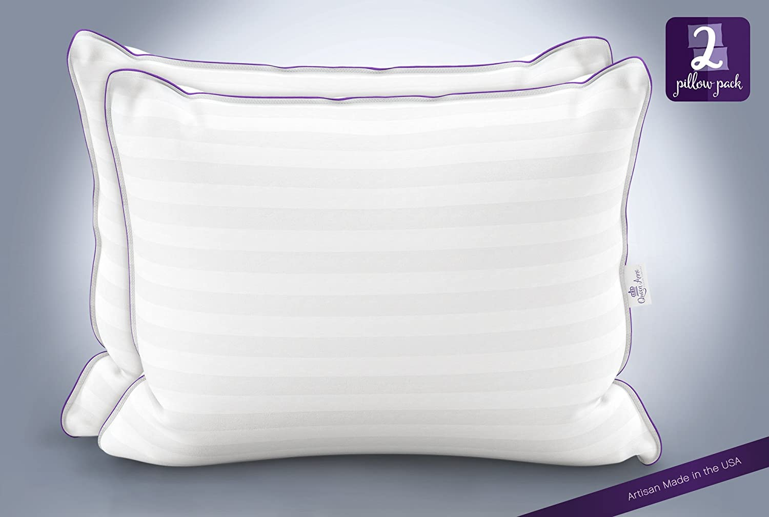 2 Luxury Hotel Pillows – Hand Crafted- Sleep on the Comfort of Down Alternative with Queen Anne's Exclusive Heavenly Down Hypoallergenic Pillow Set - Made in USA (Queen Size, Medium Fill)