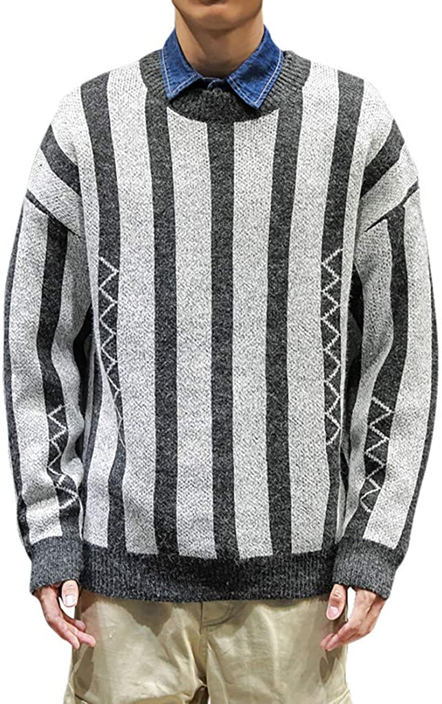 Palarn Hooded Pullover for Men Autumn and Winter Fashion Stripe Pullover Long Sleeve Blouse