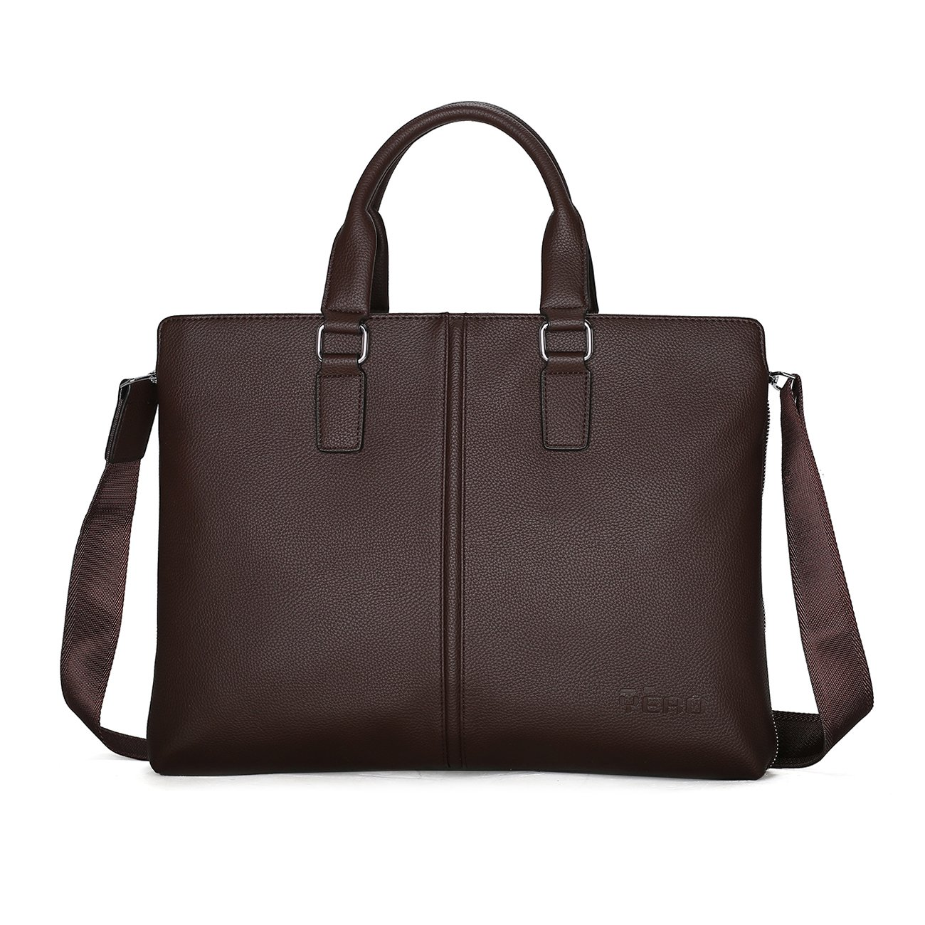 Leather Briefcase for Men, Shoulder Leather Laptop Briefcase Business Office Bag Slim Expandable Briefcase Brown
