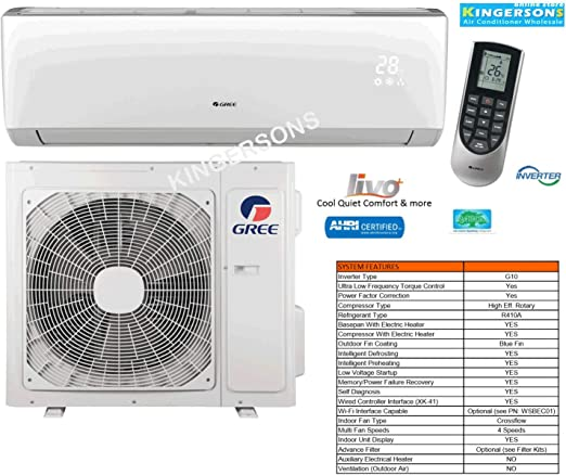 Amazon Com Gree 1 5 Ton 18000 Btu Cooling Heating Ductless Split Ac Wall Mount Air Conditioning System 16 Seer Heat Pump Ac Home Kitchen