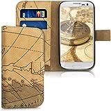 kwmobile Custodia portafoglio per Samsung Galaxy S3 / S3 Neo - Cover a libro in simil pelle Design carta geografica Flip Case con porta carte funzione appoggio marrone beige