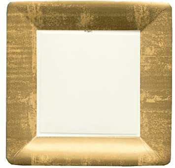 caspari square dinner plates gold leafivory 8pack - Square Dinner Plates