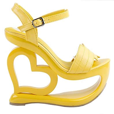 1aa5f5dac6 Amazon.com | SHOW STORY Elegant Yellow Strappy Heart Heel Wedge Bridesmaid  Wedding Sandals, LF40210 | Sandals