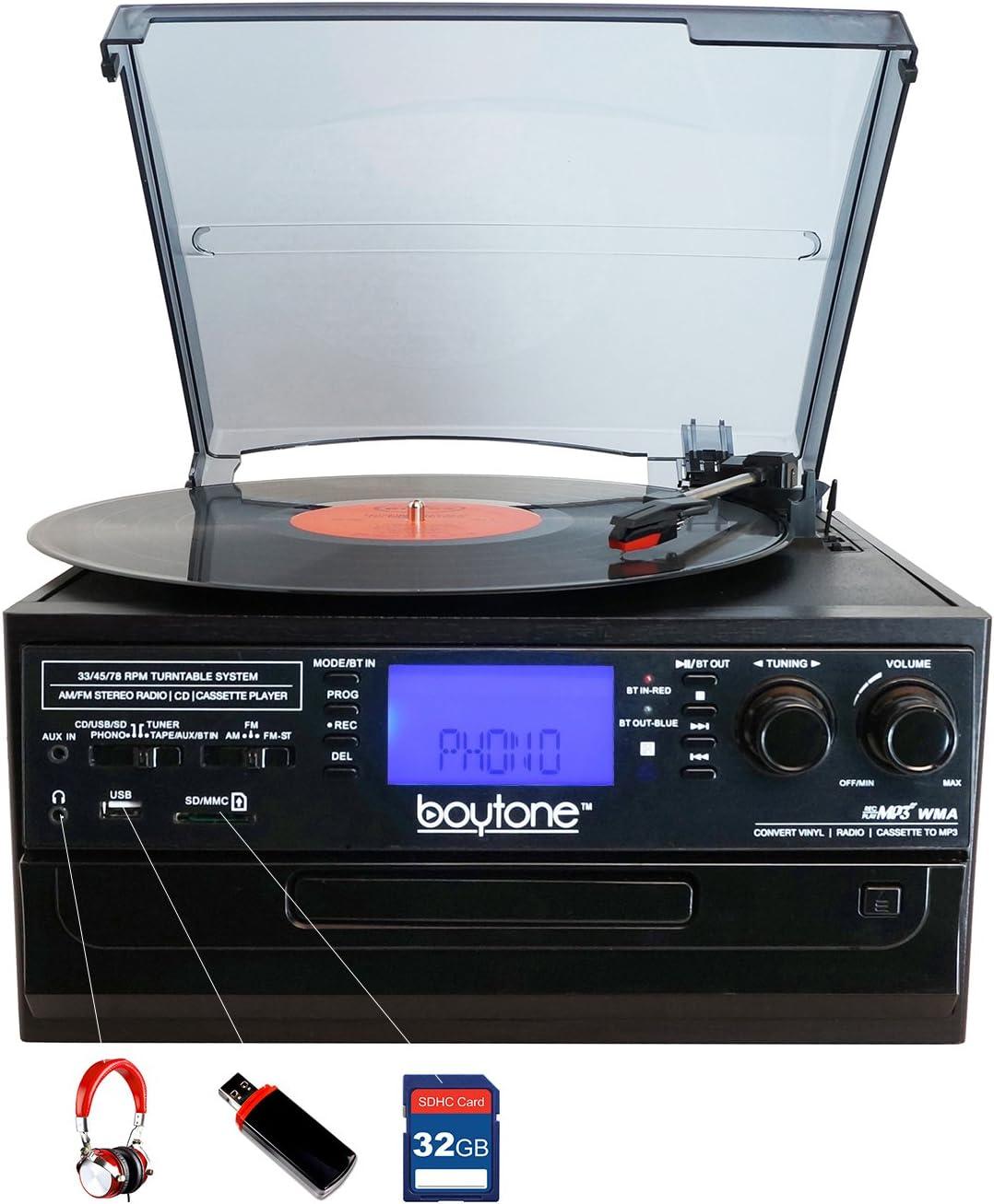Amazon.com: boytone bt-22b, Bluetooth Record Player ...