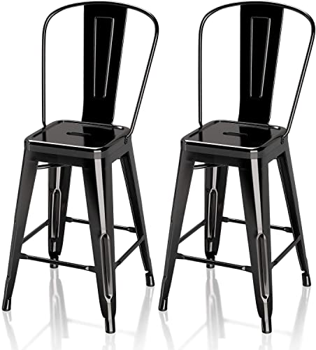 VIPEK 24″ Counter Height Bar Stools Commercial Grade Patio Bar Chairs Metal 24 Inches Height Barstool