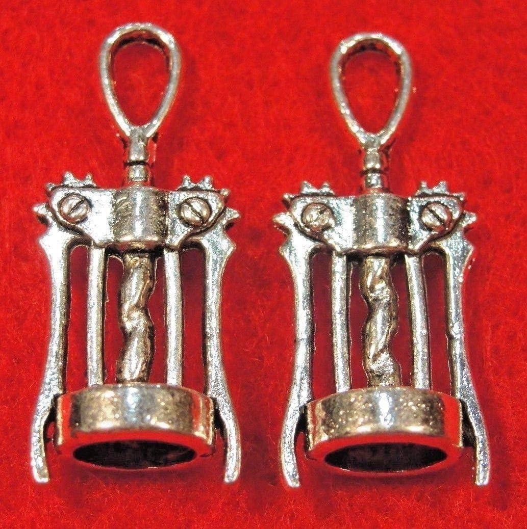5-1488 BULK 20 Corkscrew Charms Antique Silver Tone Wine Bottle Opener