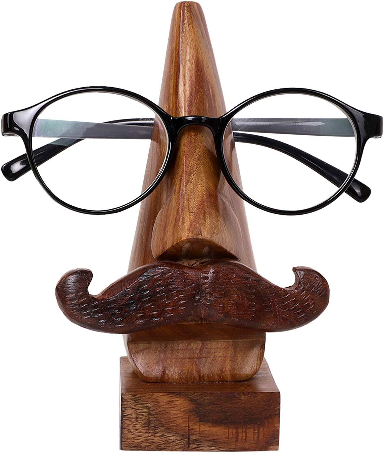 S.B.ARTS Handcrafted Wooden Spectacle Eyeglasses Holder Classic Nose Shaped Eyewear Retainer-Sunglasses Holder Display Stand, Spectacle Stand- Optical Glass Accesories, Home Office Desk Decor Gift
