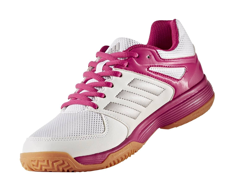 adidas Handballschuhe Speedcourt, Chaussures de Handball Femme, Multicolore (Weiß/Silber/Pink 000), 39 1/3 EU