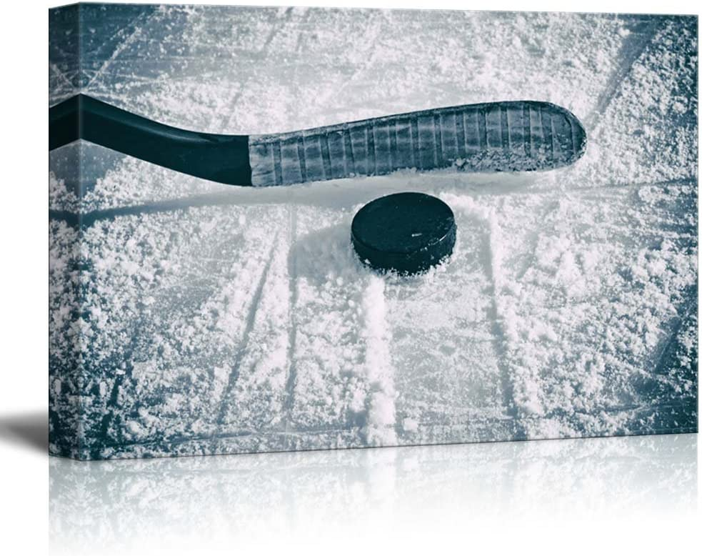 wall26 - Slapshot - Hockey Puck and Stick - Sliding Across The ice - Canvas Art Home Art - 16x24 inches