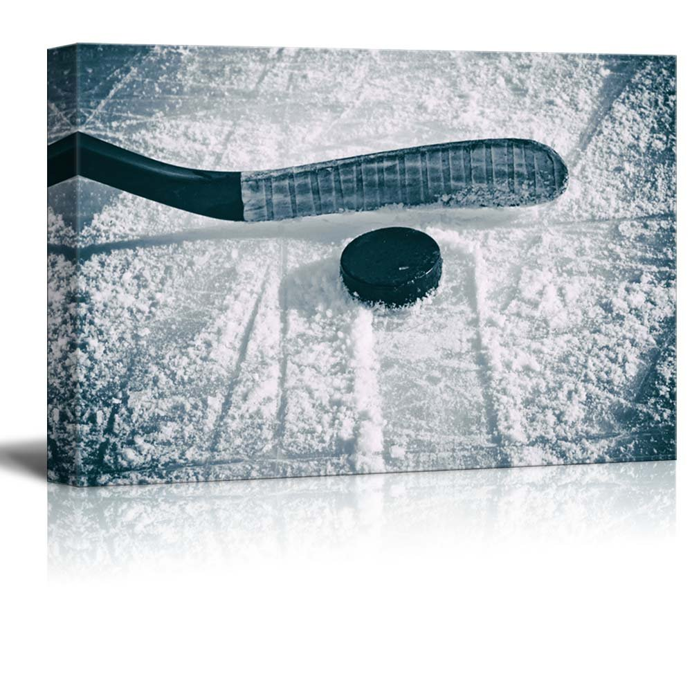 Slapshot - Hockey Puck and Stick - Sliding Across The ice - Canvas Art Home Art - 32x48 inches
