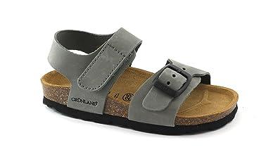 Grunland BOBO SB3003 sandales noires hommes bandes cuir nubuck birk Nero - Chaussures Sandale Homme