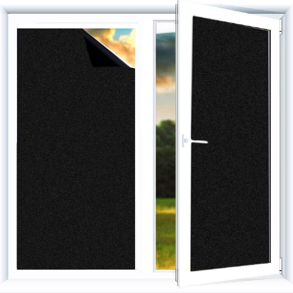 Do4u Stick On Blackout Blinds Blackout Window Blinds 100 Light Blackout Uv Resitant Privacy Without Gel East To Remove 45 100 Black Amazon Co Uk Kitchen Home