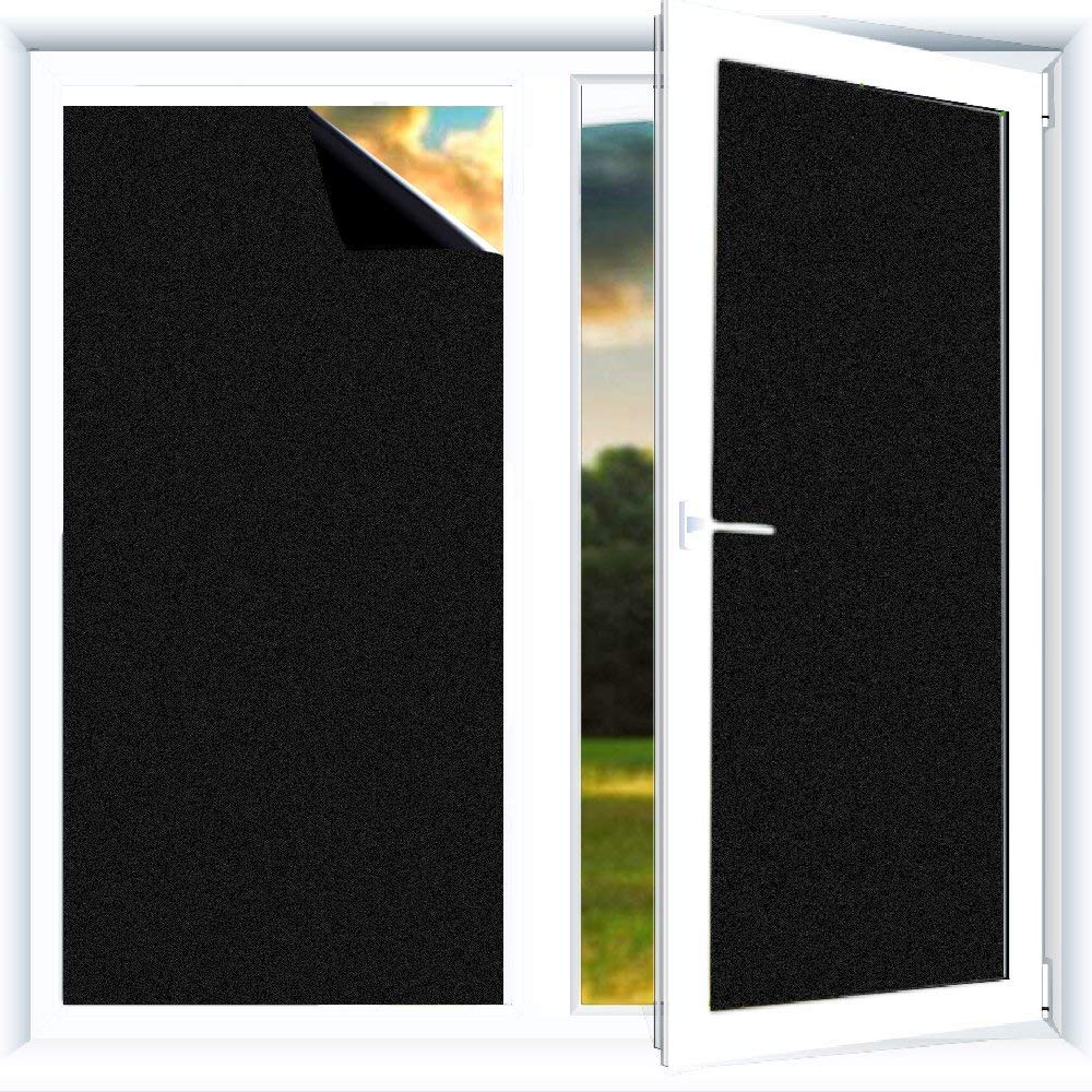 Static Cling Tint for 24 Hours Window Privacy Do4U Blackout Window Film Baby Room and Day Sleeping Room Darkening Window Treatment for Nap Time,Night Working 44.5 * 100cm, Black