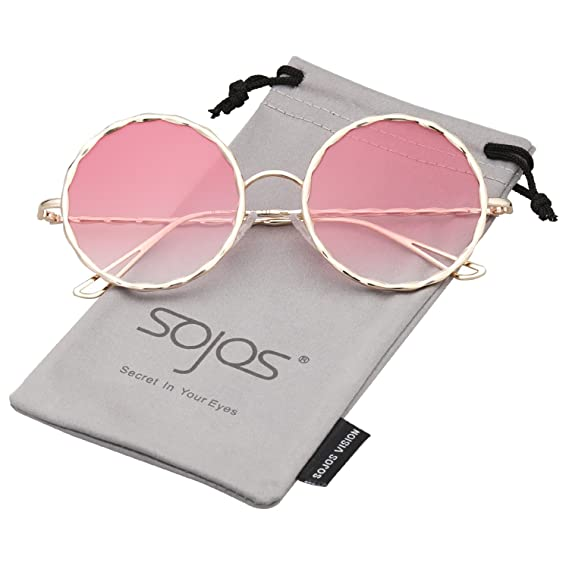 70976bbaf5 SOJOS Round Oversized Glitter Women Sunglasses Textured Circle Shades  SJ1090 with Gold Frame Gradient Pink Lens  Amazon.in  Clothing   Accessories