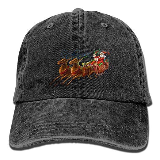 eab12a5deb978c Santa Claus and Reindeer DIY Printed Summer Fashion Cotton Baseball Cap  Adjustable Trucker Hats for Outdoor Sport at Amazon Men's Clothing store: